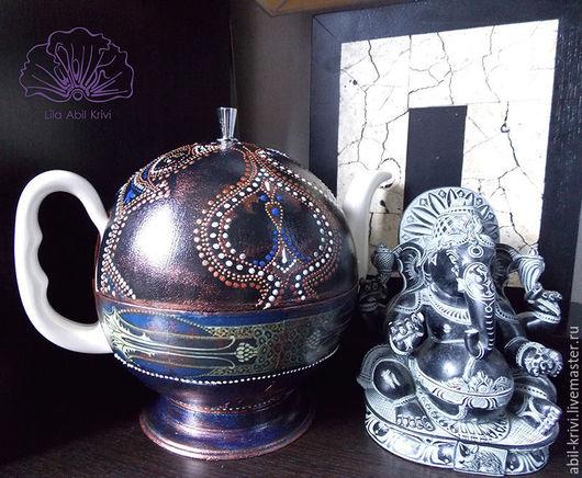 Чайники, кофейники ручной работы. Ярмарка Мастеров - ручная работа. Купить Чайник Синева и медь. Handmade. Разноцветный, тёмно-синий