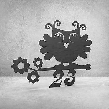 """Для дома и интерьера ручной работы. Ярмарка Мастеров - ручная работа Номерок на дверь """"Owlet"""". Handmade."""