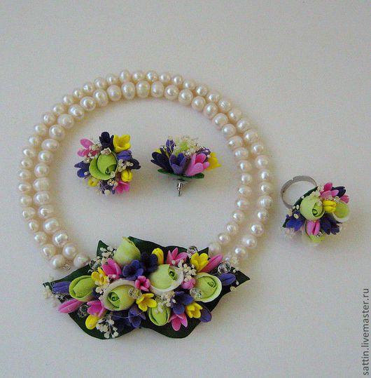 """Колье, бусы ручной работы. Ярмарка Мастеров - ручная работа. Купить Ожерелье """"Волшебные цветы"""". Handmade. Ожерелье, жемчуг натуральный"""