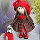 Коллекционные куклы ручной работы. Текстильная куколка маленькая путешественница. Юлия Соколова. Ярмарка Мастеров. Кукла по фото, ярко-красный
