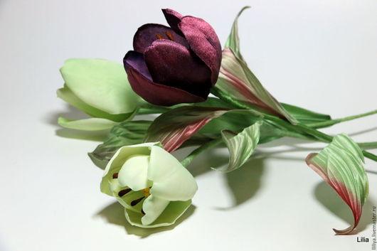 Цветы ручной работы. Ярмарка Мастеров - ручная работа. Купить Цветы из шелка. Тюльпаны интерьерные. Handmade. Комбинированный, шёлк