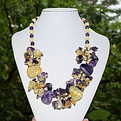 Украшения handmade. Livemaster - original item Beautiful necklace natural amethyst and citrine. Handmade.