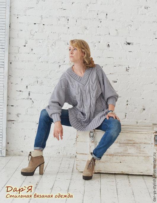 """Кофты и свитера ручной работы. Ярмарка Мастеров - ручная работа. Купить """"Гейнсборо"""" женский пуловер короткий -  OVERSIZE. Handmade. Свитер"""