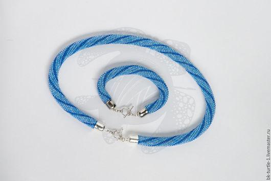 """Колье, бусы ручной работы. Ярмарка Мастеров - ручная работа. Купить Комплект """"Сине-голубой"""". Handmade. Голубой, полосатый"""