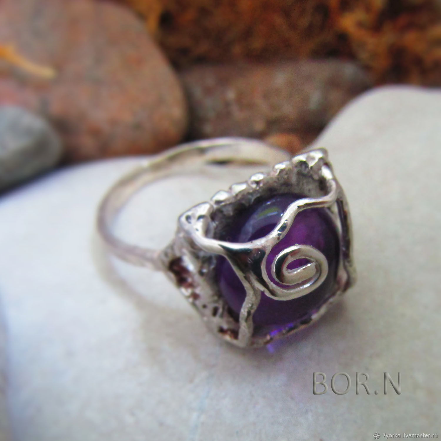 Silver ring with amethyst, Ring, St. Petersburg,  Фото №1