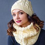 """Аксессуары ручной работы. Ярмарка Мастеров - ручная работа """"Аромат ванили"""", комплект вязаный, шарф снуд вязаный и шапка вязаная. Handmade."""