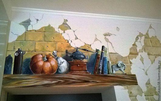 """Декор поверхностей ручной работы. Ярмарка Мастеров - ручная работа. Купить роспись стены """"роспись с кошкой"""". Handmade. Роспись стен"""