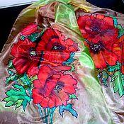Аксессуары ручной работы. Ярмарка Мастеров - ручная работа шелковый шарф с маками ручной работы. Handmade.