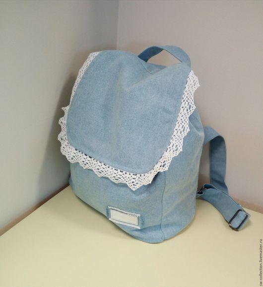 Рюкзаки ручной работы. Ярмарка Мастеров - ручная работа. Купить Джинсовый рюкзак с кружевом. Handmade. Голубой, джинсовый стиль, шнуры