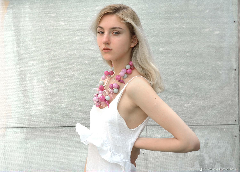 """Колье """"Магнолия"""" выдувное стекло, Necklace, Chelyabinsk,  Фото №1"""