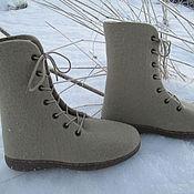 """Обувь ручной работы. Ярмарка Мастеров - ручная работа Войлочные ботинки """"Лен"""". Handmade."""