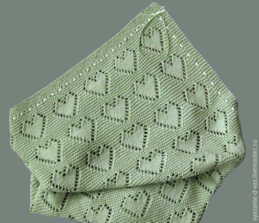 Текстиль, ковры ручной работы. Ярмарка Мастеров - ручная работа. Купить Плед детский вязаный  с сердечками. Handmade. Разноцветный