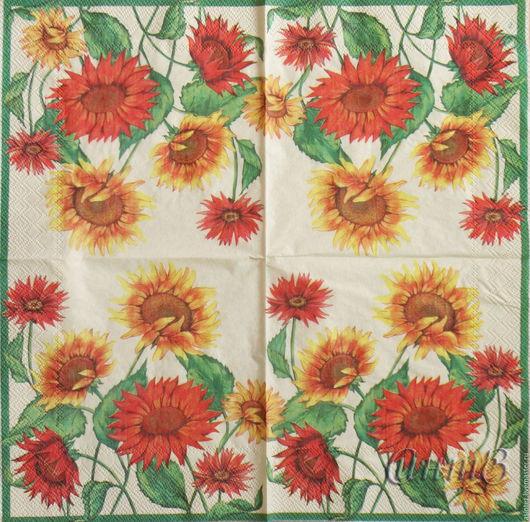 салфетки для декупажа подсолнухи бордюр цветы принт декупажный
