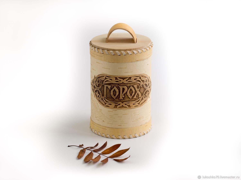 Box of birch bark 'Peas'. Pot for onions and peas, Jars, Tomsk,  Фото №1