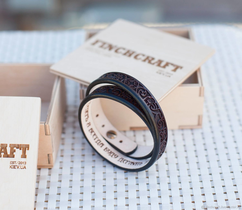Браслеты ручной работы. Ярмарка Мастеров - ручная работа. Купить Кожаный браслет намотка с орнаментом. Handmade. Коричневый, подарок подруге