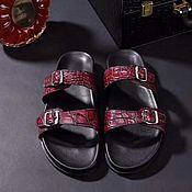 Обувь ручной работы handmade. Livemaster - original item Crocodile leather slippers, summer casual shoes. Handmade.