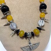 Украшения handmade. Livemaster - original item Necklace ethnic beads made from natural stones Winged ISIS.. Handmade.