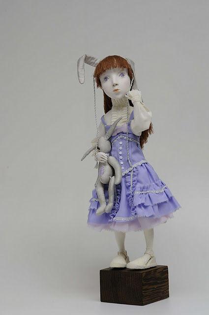 """Коллекционные куклы ручной работы. Ярмарка Мастеров - ручная работа. Купить Авторская кукла """"Мой зайчик"""". Handmade. Кукла, васильковый"""