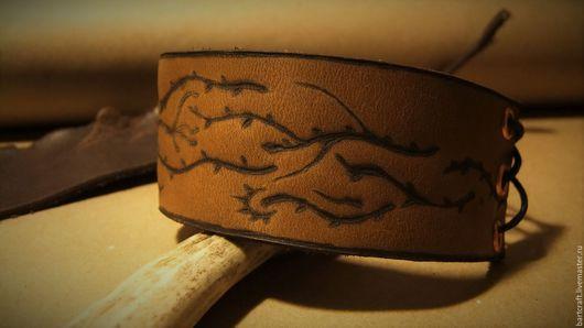 """Браслеты ручной работы. Ярмарка Мастеров - ручная работа. Купить Браслет из натуральной кожи """"Scierie"""". Handmade. Коричневый, подарок"""