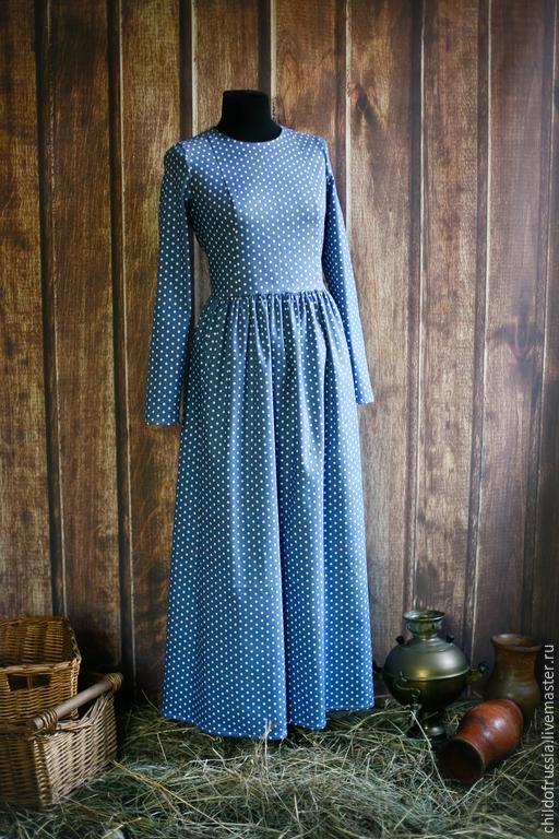 Платья ручной работы. Ярмарка Мастеров - ручная работа. Купить Городское платье. Handmade. Разноцветный, в горошек, платье, джинсовая ткань