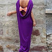 Одежда ручной работы. Ярмарка Мастеров - ручная работа Фиолетовое длинное макси платье, кафтан с открытой спиной и бантиком. Handmade.