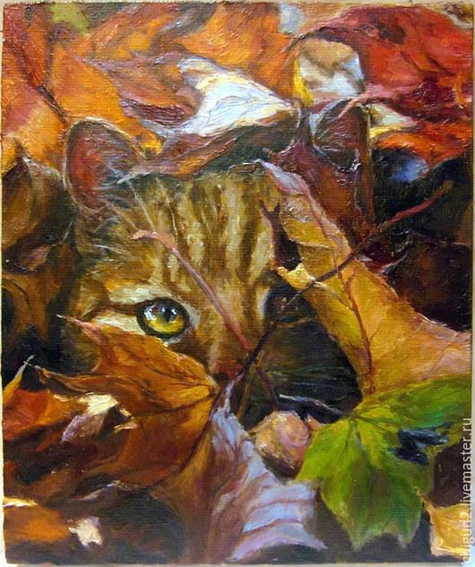 Животные ручной работы. Ярмарка Мастеров - ручная работа. Купить Рыжая осень и кот. Handmade. Картина маслом, живопись маслом