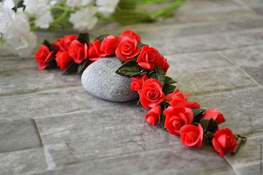 Браслеты ручной работы. Ярмарка Мастеров - ручная работа. Купить Красные розы....... Handmade. Ярко-красный, розы в браслете, алый