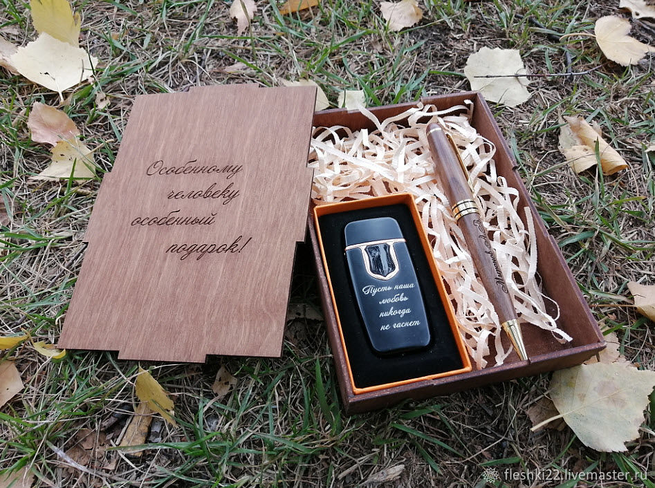 Wooden handle and lighter, gift set, engraving, design, Handle, Barnaul,  Фото №1