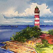 """Картины и панно ручной работы. Ярмарка Мастеров - ручная работа Морской пейзаж маяк """"Финский залив"""". Handmade."""
