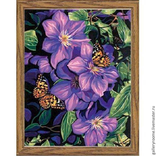 Другие виды рукоделия ручной работы. Ярмарка Мастеров - ручная работа. Купить Картина по номерам Бабочки на лиловом. Handmade.