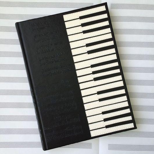 Блокноты ручной работы. Ярмарка Мастеров - ручная работа. Купить Блокнот Фортепиано экокожа. Handmade. Фортепиано, блокнот для записей, подарок