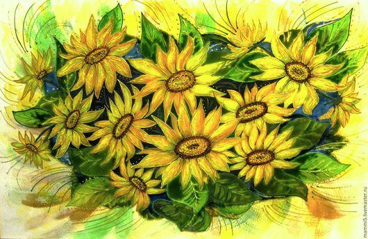 Картины цветов ручной работы. Ярмарка Мастеров - ручная работа. Купить Подсолнухи.. Handmade. Желтый, картина на стекле, подсолнухи на стекле
