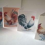"""Открытки ручной работы. Ярмарка Мастеров - ручная работа набор мини-открыток """" Петушки """"- мини. Handmade."""