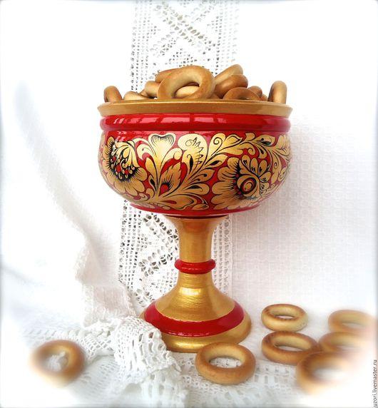 """Посуда ручной работы. Ярмарка Мастеров - ручная работа. Купить Конфетница """"Золотая хохлома""""т (красная). Handmade. Конфетница, золотая хохлома"""