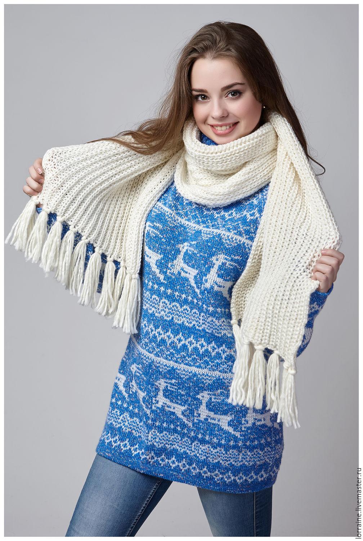 шарф вязаный зимушка зима из итальянской шерсти купить в