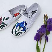 Обувь ручной работы. Ярмарка Мастеров - ручная работа слипоны(кеды) + топ ИРИСЫ. Handmade.