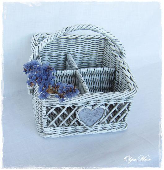 Корзины, коробы ручной работы. Ярмарка Мастеров - ручная работа. Купить Плетеная корзина-органайзер (для кухни или ванной комнаты). Handmade.