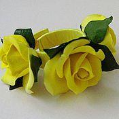 Украшения ручной работы. Ярмарка Мастеров - ручная работа Комплект с желтыми розами. Handmade.
