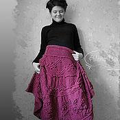 """Одежда ручной работы. Ярмарка Мастеров - ручная работа Юбка вязаная ягодная """"Шишки и араны"""". Handmade."""
