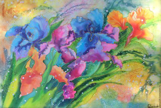 Картины цветов ручной работы. Ярмарка Мастеров - ручная работа. Купить Нежные ирисы.. Handmade. Комбинированный, картина для интерьера