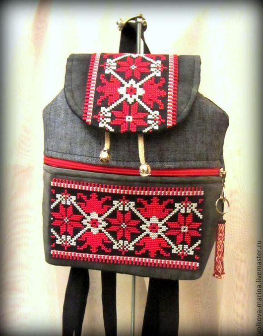 Рюкзаки ручной работы. Ярмарка Мастеров - ручная работа. Купить Рюкзак  с вышивкой молодежный. Handmade. Бежевый, подарок, подарок женщине