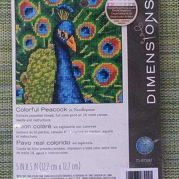 Материалы для творчества ручной работы. Ярмарка Мастеров - ручная работа Наборы Dimensions 07242 Colorful Peacock (Красочный павлин) гобелен. Handmade.