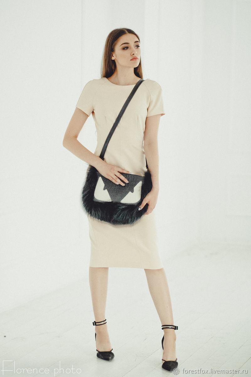Женские сумки ручной работы. Ярмарка Мастеров - ручная работа. Купить Кожаная сумка с мехом, меховой клатч. Handmade. Черный