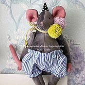 Мягкие игрушки ручной работы. Ярмарка Мастеров - ручная работа Мышонок из бархата - артист цирка игрушка ручной работы символ 2020. Handmade.