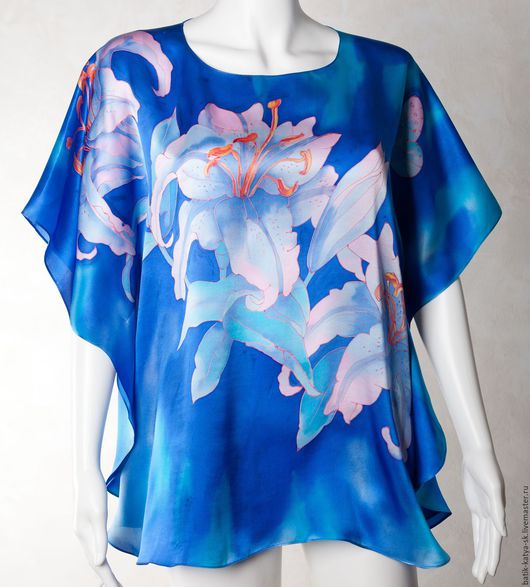 """Блузки ручной работы. Ярмарка Мастеров - ручная работа. Купить Батик блуза """"Лилии"""". Handmade. Синий, одежда из шелка, цветы"""