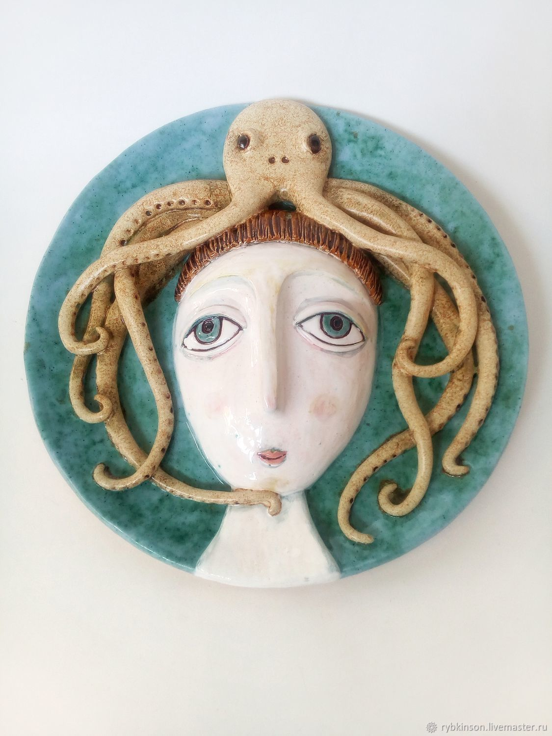Large ceramic plate 'Lady with octopus', Plates, Pokrov,  Фото №1