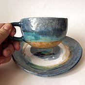 """Посуда ручной работы. Ярмарка Мастеров - ручная работа Чайная пара """"Голубая лагуна"""". Handmade."""