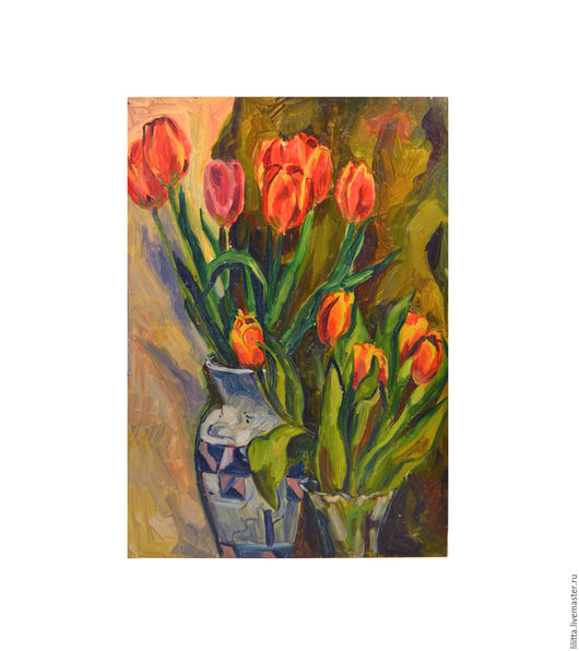 Картины цветов ручной работы. Ярмарка Мастеров - ручная работа. Купить Тюльпаны. Handmade. Картина маслом, картина, картина для интерьера