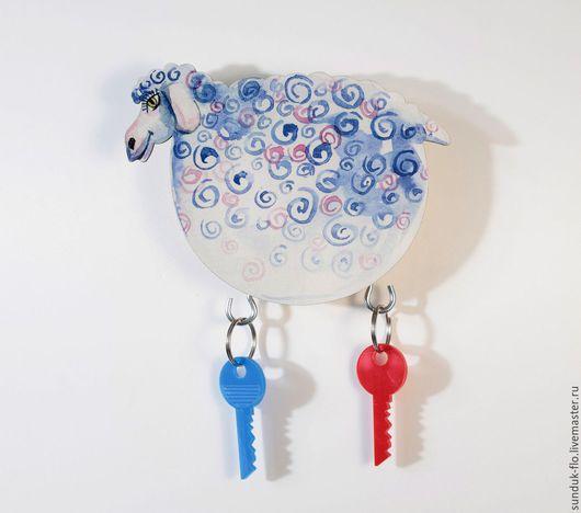 """Прихожая ручной работы. Ярмарка Мастеров - ручная работа. Купить Ключница настенная """"Овечка"""". Handmade. Голубой, деревянная овечка"""