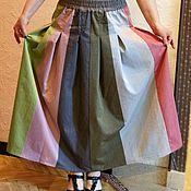 """Одежда ручной работы. Ярмарка Мастеров - ручная работа Юбка """"Цветные вертикальные полосы"""" хлопковая, длинная, в пол. Handmade."""